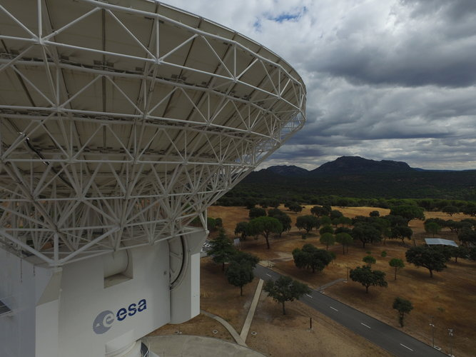 Drone's eye view of ESA's deep-space dish in Spain