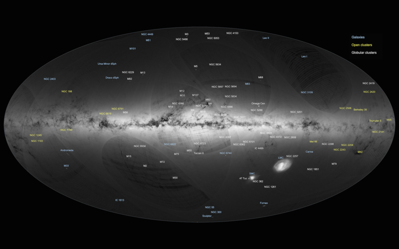 Gaia's first sky map, annotated