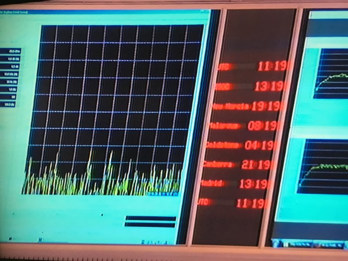 Screenshot of the image displayed at ESA's ESOC mission control centre showing the static received by the ground station a moment after Rosetta's radio signal disappeared at 13:19 CEST on 30 September 2016. The loss of contact marked the end of operations.