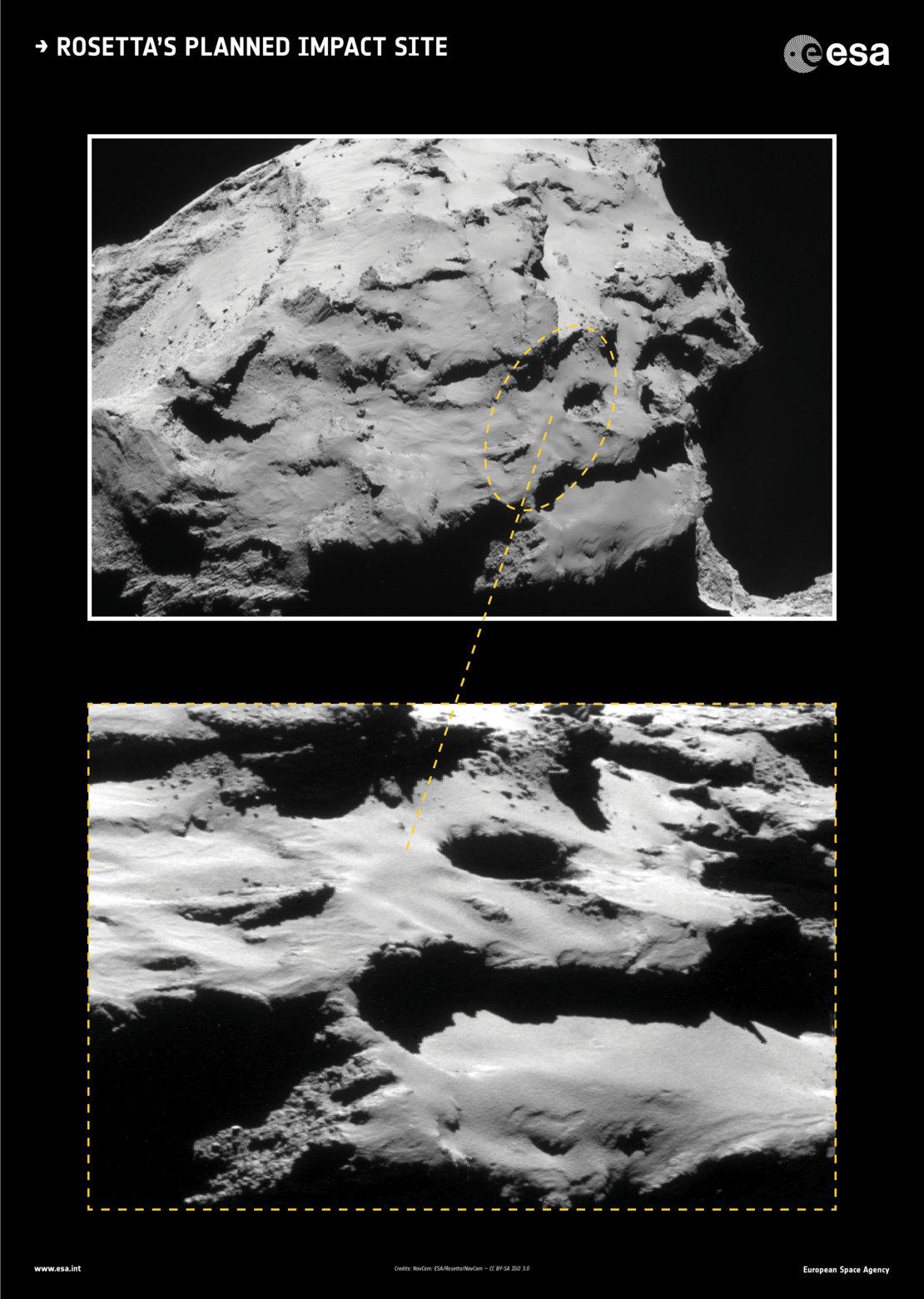Lokalita Ma'at na menší části komety 67P/Čurjumov-Gerasimenko. Ke kontaktu Rosetty s povrchem komety by mělo v přímém přenosu dojít v pátek 30. září kolem 12:30 SELČ.