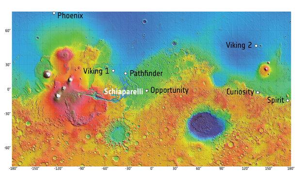Puntos de aterrizaje en Marte. Créditos: imagen de fondo: MOLA Science Team; mapa: ESA