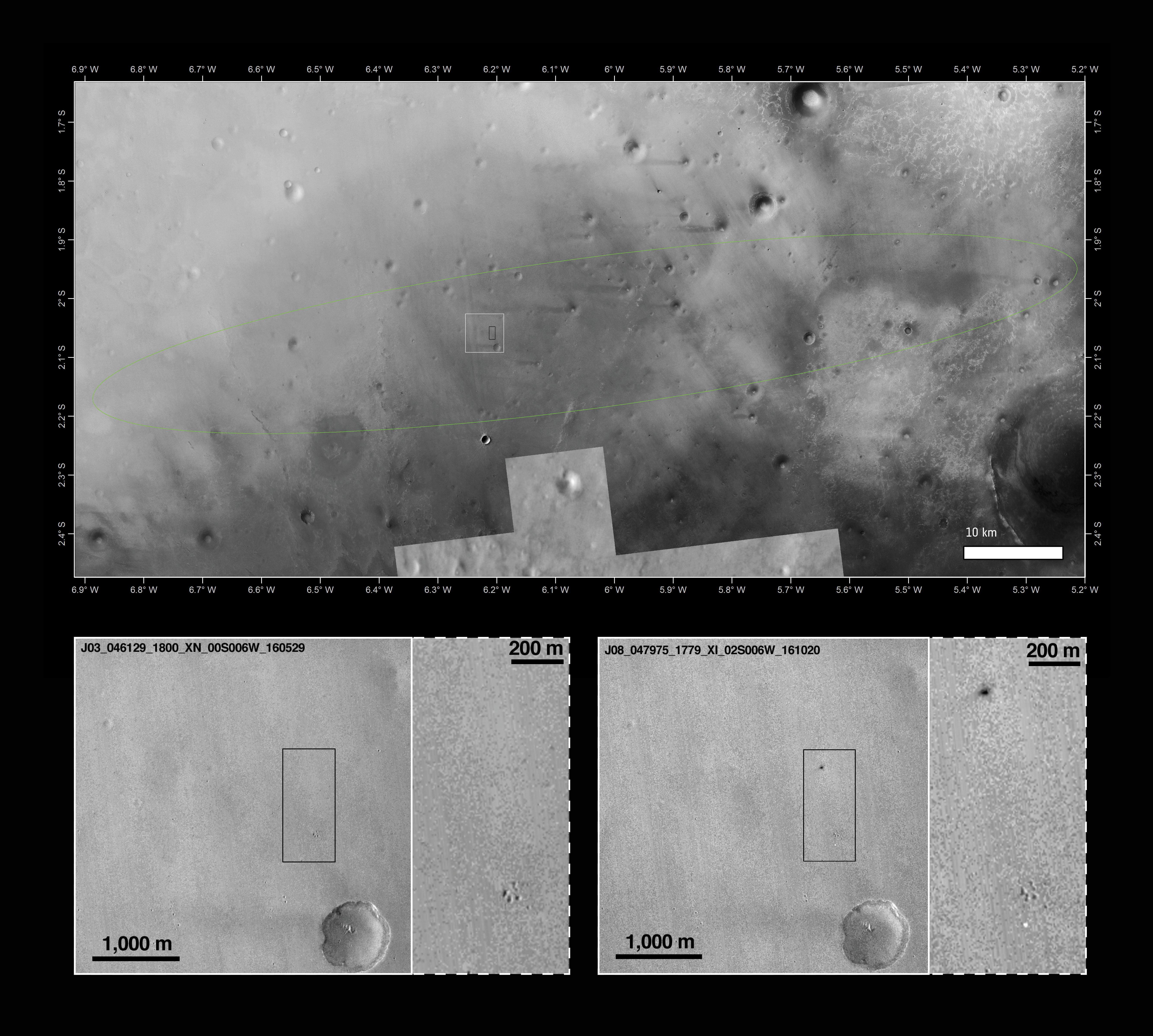 Aufnahmen der Schiaparelli-Aufschlagsstelle, Quelle: Main image: NASA/JPL-Caltech/MSSS, Arizona State University; inserts: NASA/JPL-Caltech/MSSS
