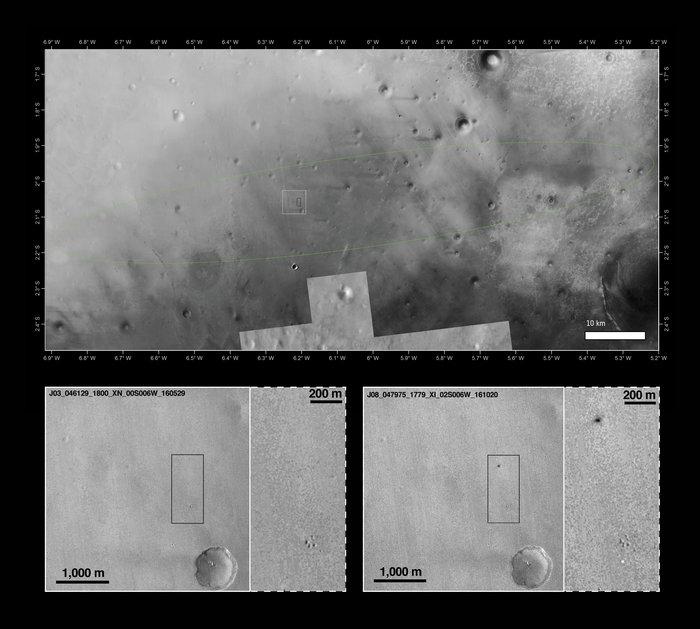 Снимки места посадки «Скиапарелли» © ESA