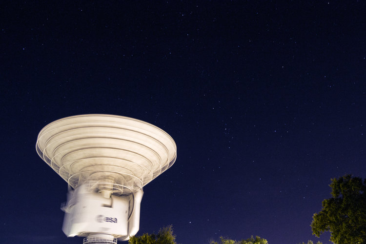 A timelapse image makes our deep-space dish in Spain seem to spin