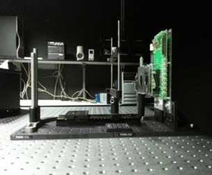 Actual test setup tp fully characterize the performance of the detector