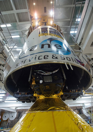 Fairing lowered onto Galileo satellites