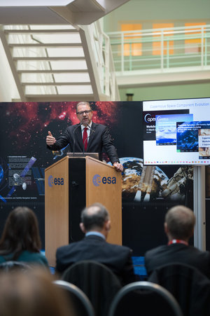 Josef Aschbacher at Sentinel-2B press event