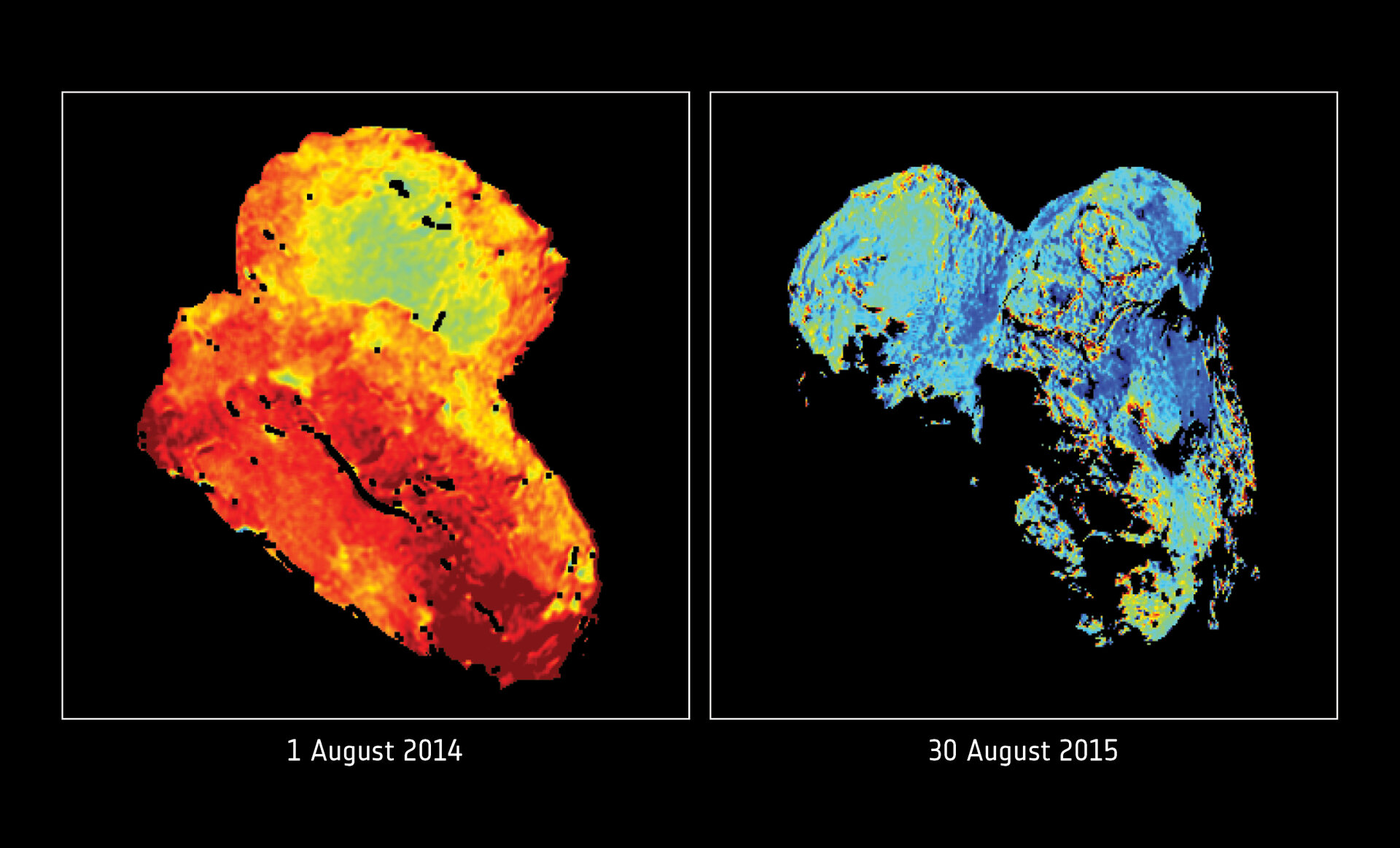 Seasonal cycle of water ice at the comet