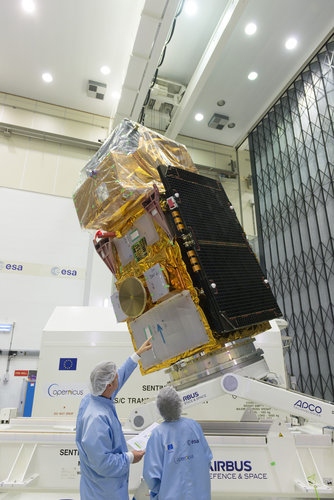 Sentinel-2B satellite at ESA's site in the Netherlands