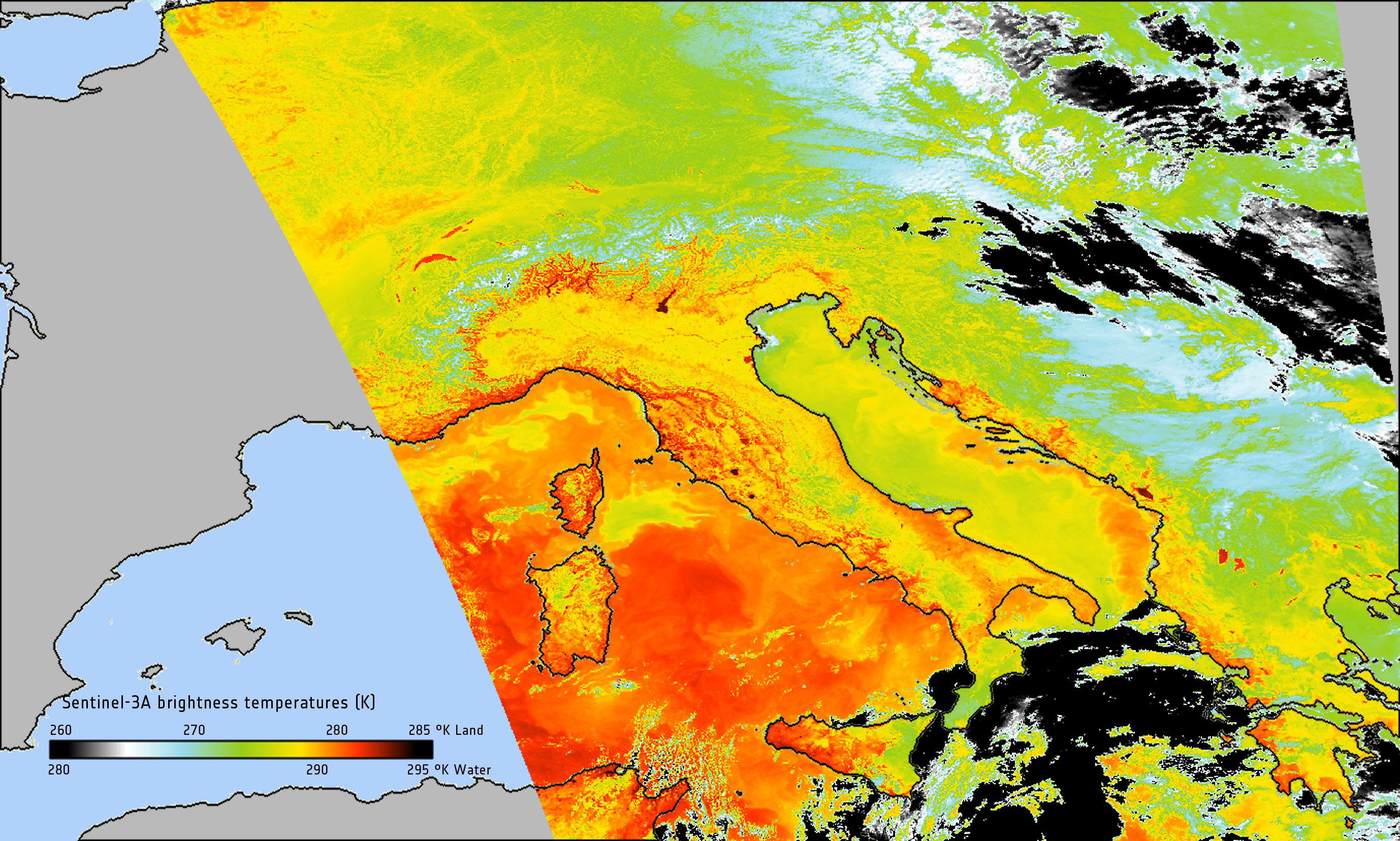 Space in Images 2016 11 Sentinel3A takes Earths temperature – Earth Temperature Map