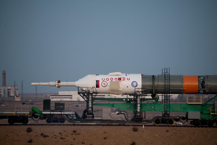 Soyuz spacecraft roll out