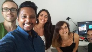 The Science Office team: from left to right: Miguel, Thilina, Inês, Leonor and Rui