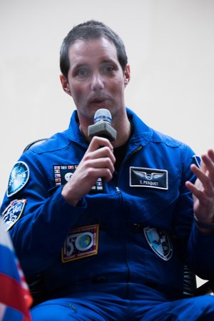 Thomas Pesquet during the pre-launch press conference