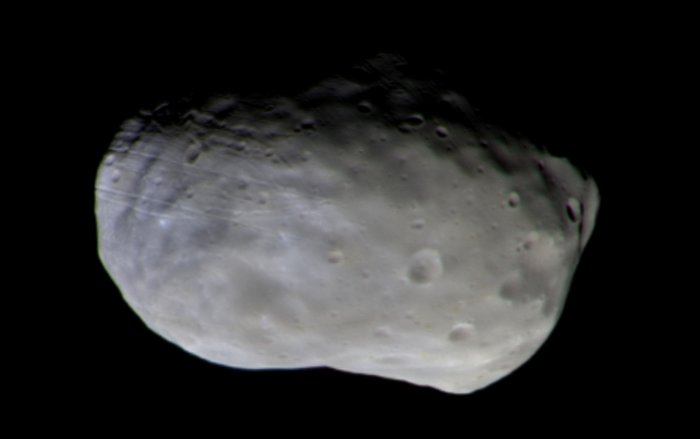 Colour composite of Phobos taken with the ExoMars orbiter's Colour and Stereo Surface Imaging System (CaSSIS) on 26 November 2016. The observation was made at a distance of 7700 km and yields a resolution of 87 m/pixel.