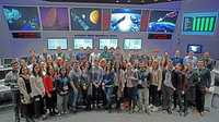 Some of ESA's young and 'young at heart' engineers and scientists visit Darmstadt for briefings at the Agency's mission control centre