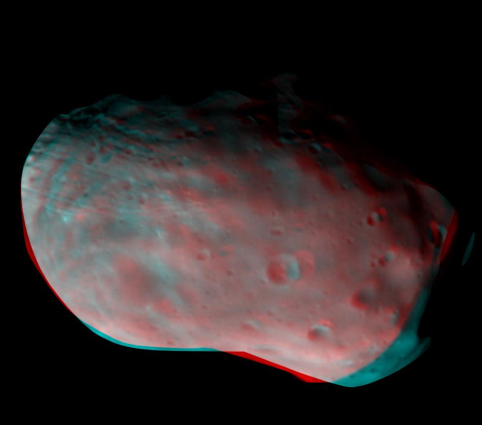 Anaglyphes Bild von Phobos, erstellt aus CaSSIS-Aufnahmen vom 26.11.2016, Quelle: ESA/Roscosmos/CaSSIS