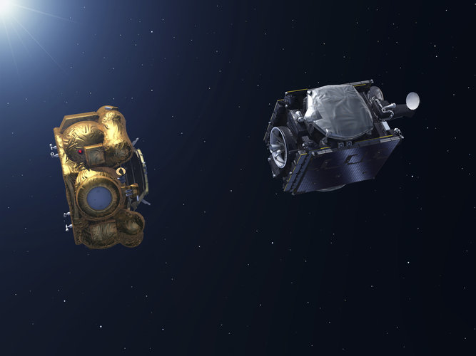 Artist's impression of the ejection of the SmallGEO/H36W-1 satellite