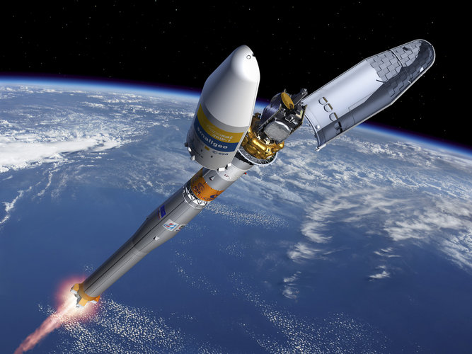 Artist's impression of the fairing separation