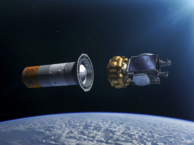 Artist's impression of the SmallGEO/H36W-1 Fregat separation