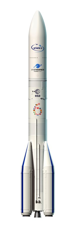 Artist's view of the configuration of Ariane 6 using four boosters (A64)