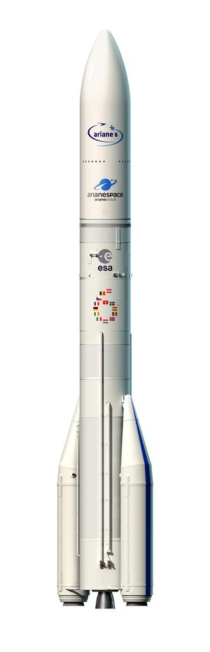 Artist's view of the configuration of Ariane 6 using two boosters (A62)