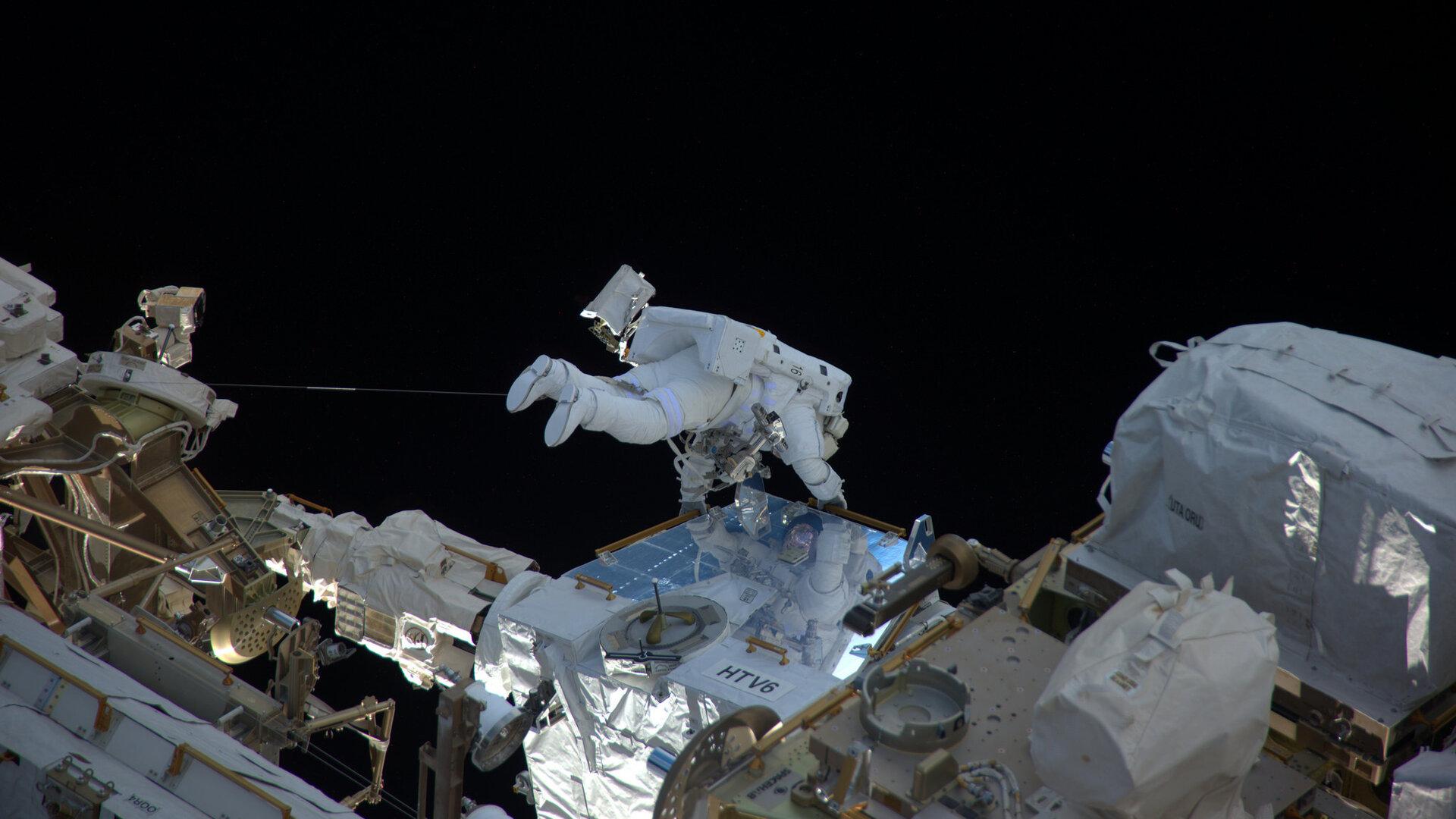 Thomas during his first spacewalk