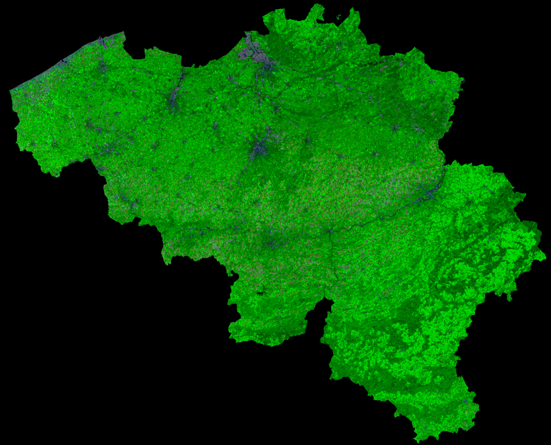 A cloud-free image of Belgium, acquired by ESA's Proba-V satellite