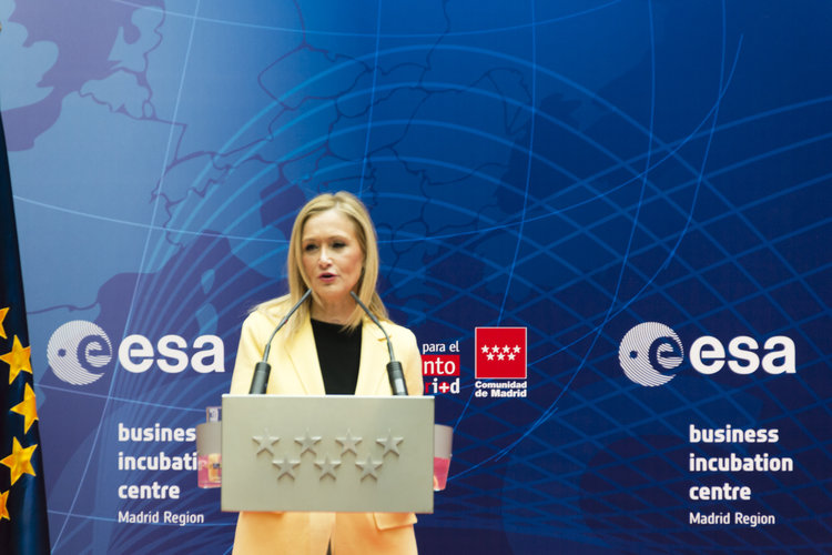 Cristina Cifuentes at the official opening of ESA BIC Madrid Region