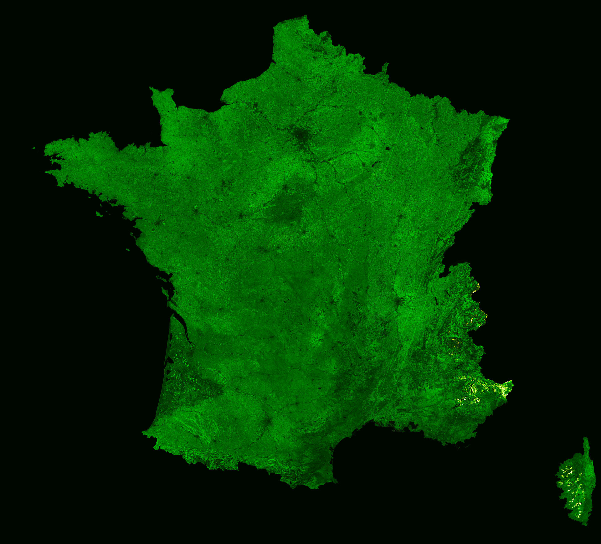 France, as seen by Proba-V, licenced under Creative Commons CC BY-SA 3.0 IGO