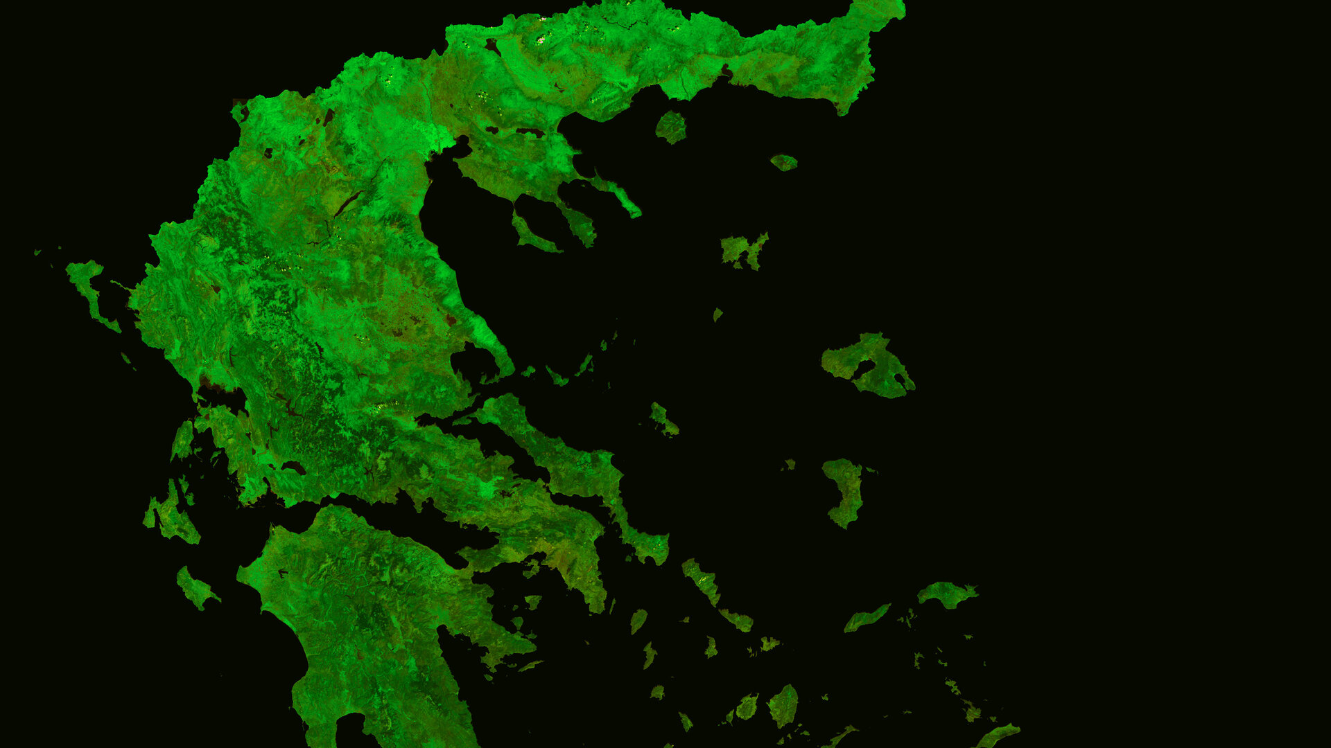 A cloud-free image of Greece, acquired by ESA's Proba-V satellite