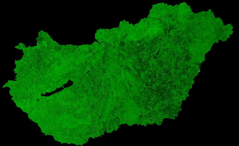 A cloud-free image of Hungary, acquired by ESA's Proba-V satellite