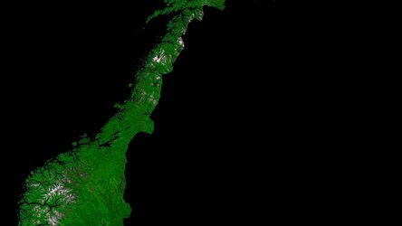 A cloud-free image of Norway, acquired by ESA's Proba-V satellite