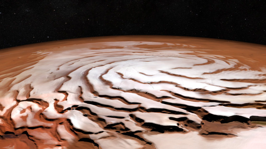 Perspective view of Mars north polar ice cap