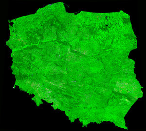 A cloud-free image of Poland, acquired by ESA's Proba-V satellite