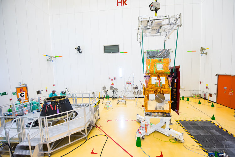 Sentinel-2B before being installed on its payload launcher adapter