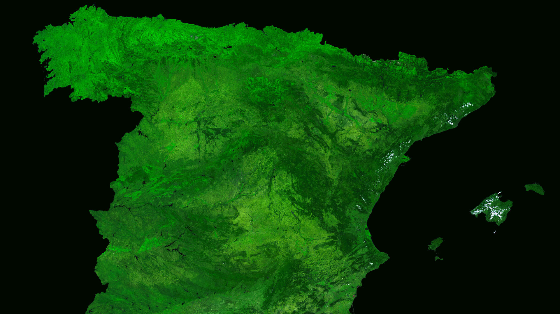 A cloud-free image of Spain, acquired by ESA's Proba-V satellite