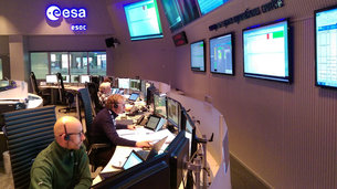 The B-Section of the Sentinel-2 mission control team seen in 'sim' training at ESOC on 11 Jan 2017. Lift-off is set for 7 March.