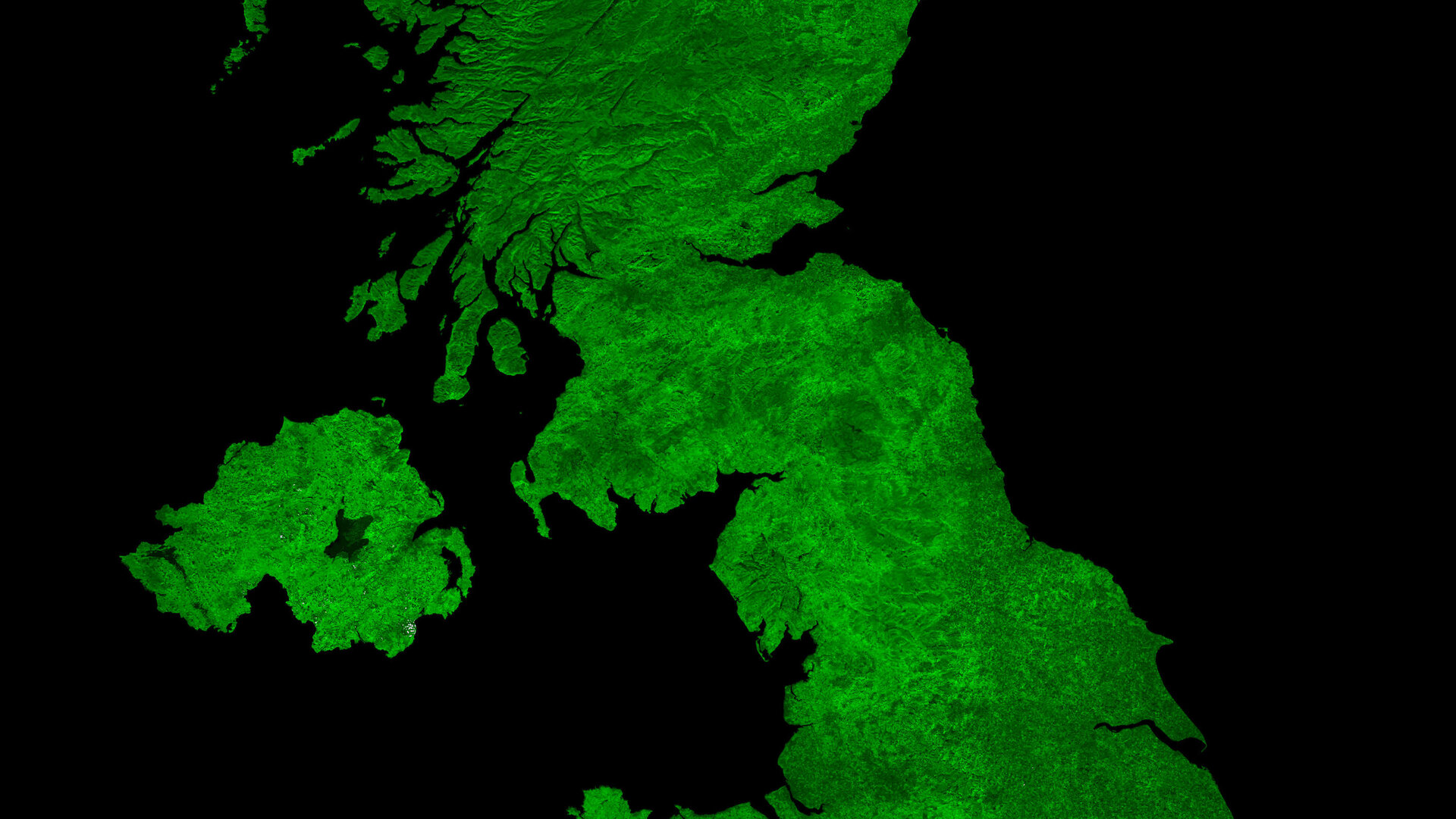 A cloud-free image of the United Kingdom, acquired by ESA's Proba-V satellite