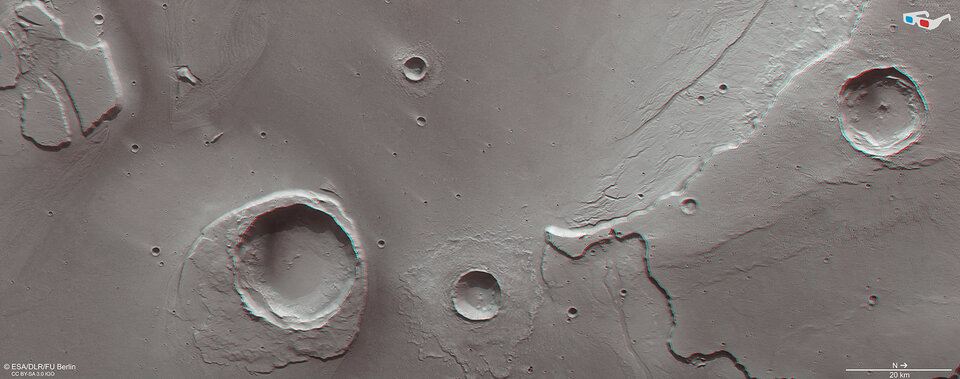 Anaglyph view at the mouth of Kasei Vallis