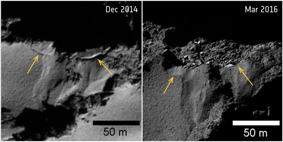 Comet changes: collapsing cliff in Ash