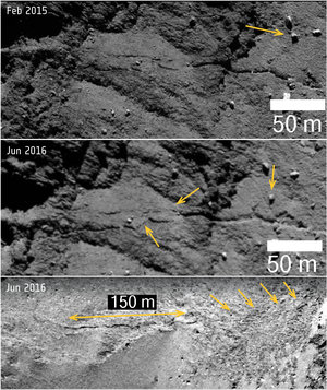 Comet changes: new fracture and boulder movement in Anuket