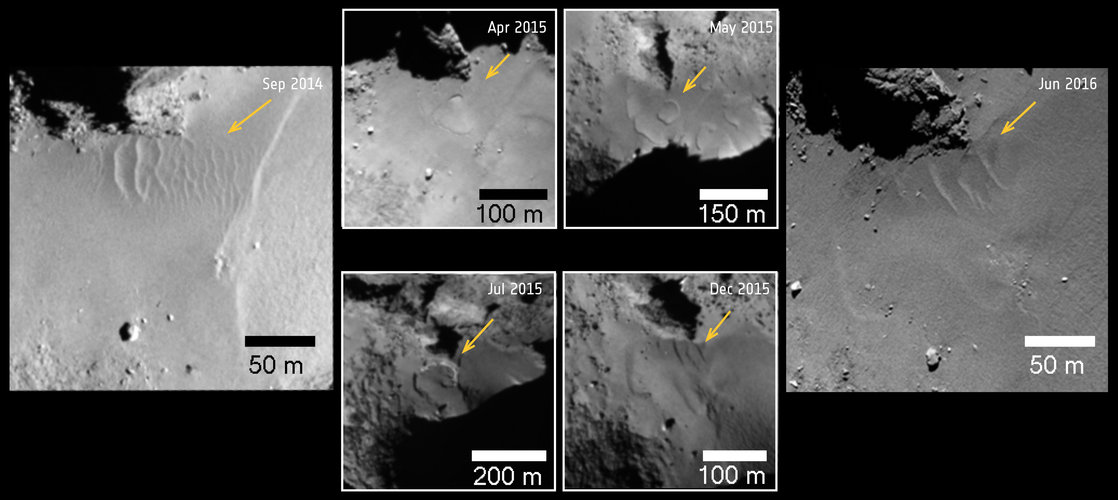 Comet changes: ripples and scarps in Hapi