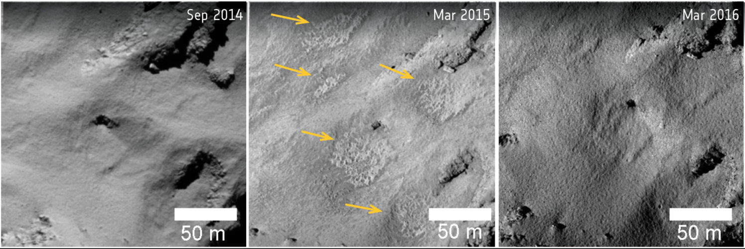 Comet changes: surface textures in Ma'at