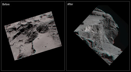 Comet cliff collapse in 3D