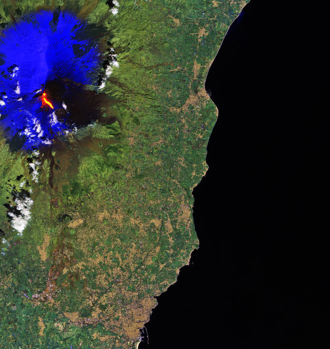 Image of Mt. Etna eruption as seen from space. Photo captured by ESA's Copernicus Sentinel-2A Satellite.