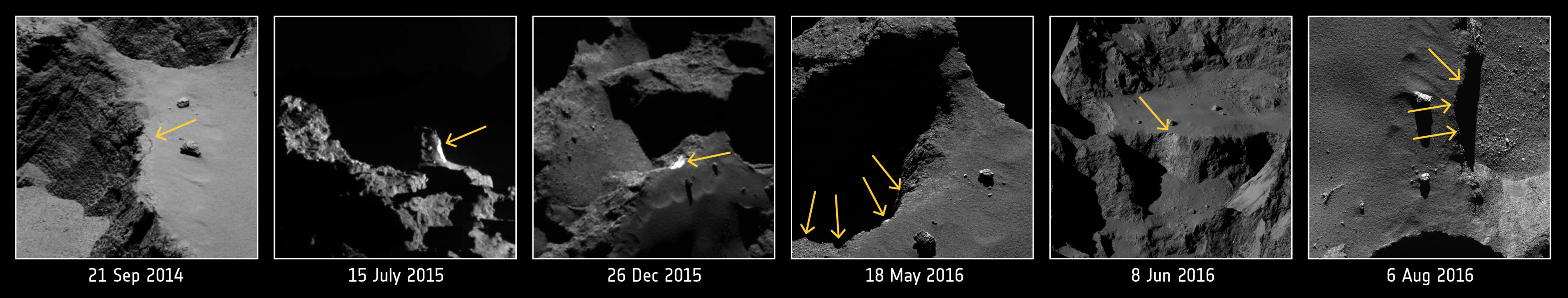 Evolution of a comet cliff collapse