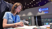 Spacecraft operations manager Michelle Collins working in the Main Control Room during the launch of Sentinel-2B.