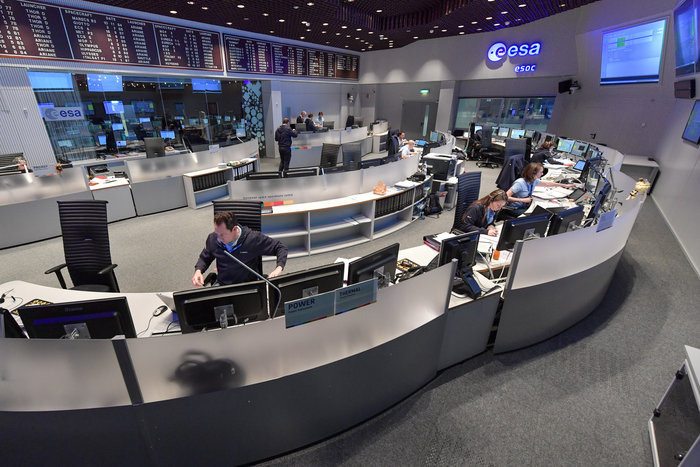 The Sentinel-2 mission control team seen working 'on console' in the Main Control Room at ESOC, ESA's operations centre in Darmstadt, Germany, shortly after the lift off of Sentinel-2B on 7 March 2017.