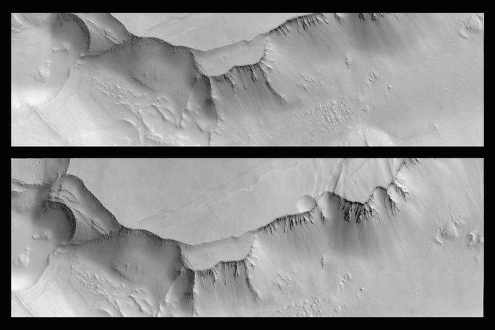 Stereo-Doppelbild eines 15x45 km großen Gebiets in der Region Noctis Labyrinthus des CaSSIS-Kamerasystems auf dem ExoMars TGO, Auflösung 7.2 m/pixel, Quelle: ESA/Roscosmos/CaSSIS, CC BY-SA 3.0 IGO