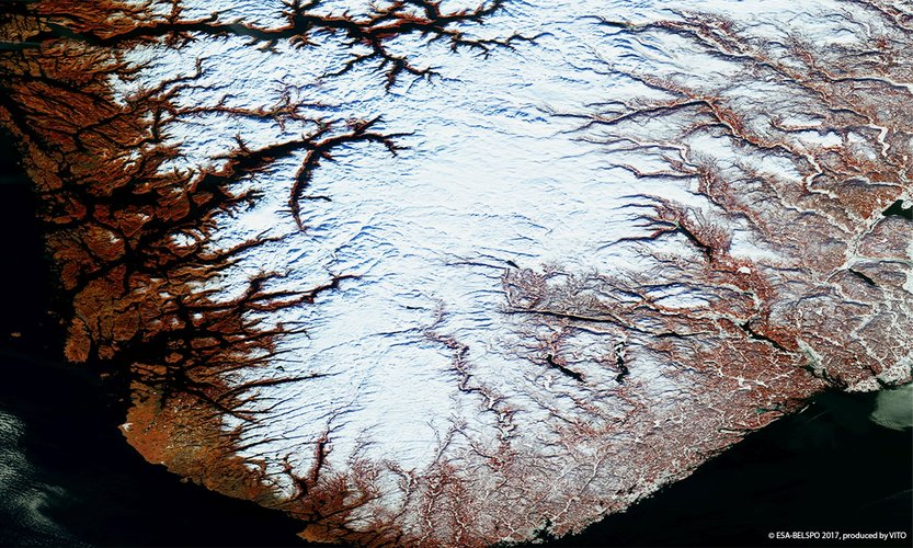 Norwegian fjords imaged by Proba-V